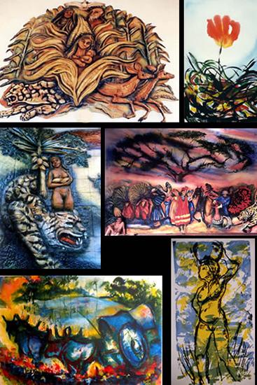 Collage de diferentes obras de Lorgio Vaca