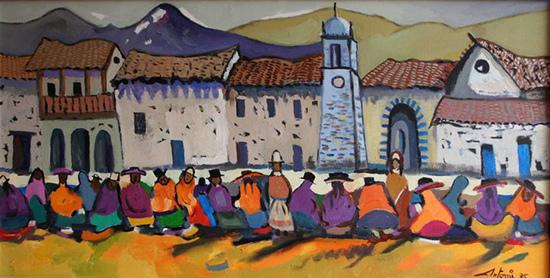 """""""Pueblo de chinchero"""" Óleo s. lienzo – Antonio Mariaca"""