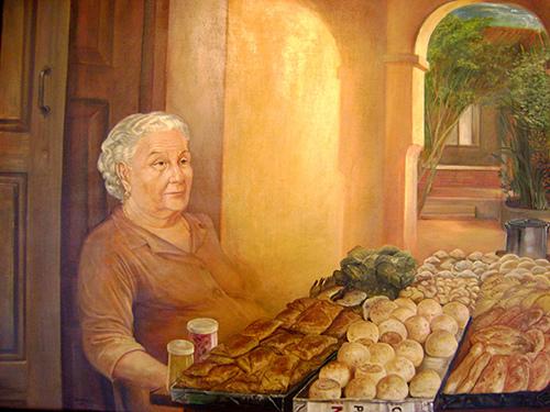 """""""La vendedora"""" . Óleo s. lienzo – Tito Kuramotto"""