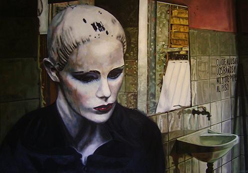 """Baño público"" . Óleo s. lienzo – Guiomar Mesa"